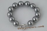 spbr010 Hand knotted 12mm silver grey shell pearl bracelet in factory price