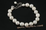 spbr014 One Row White Shell Pearl Bracelet with Sterling Silver Clasp