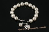 spbr015 Shell Pearl and Heart Charm Sterling Silver Bracelet