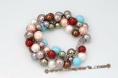 spbr027 Hand Wired Round Colorful Round Shell Pearl Bracelet
