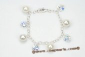 spbr029 Hand Wired White Round Shell Pearl & Crystal Bracelet