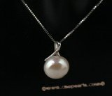 spp174 Simple 12-13mm white bread pearl sterling silver pendant