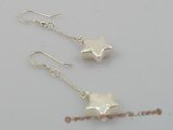 spe005 11MM white stellated keshi pearl dangle earrings with sterling hook