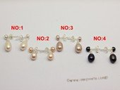 spe006 6*8mm tear-drop freshwater pearls sterling stud earring different color
