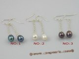 spe008 6*8mm tear-drop freshwater pearls sterling dangle earring with sterling hook