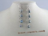 spe018 multi-hoop sterling silver and rice pearl dangle earrings
