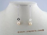 spe029 925 silver rice shape Pearl Dangles Bridal Earrings