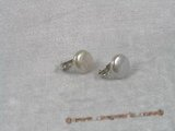 SPE038 12-13mm white fresh water coin pearl sterling silver CLIP Earrings