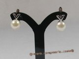 spe071 Sterling pierce clip earrings with white bread cultured pearl