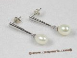 spe075 6-7mm white rice-shape cultured pearl 925silver studs earrings