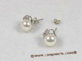 spe076 8-8.5mm white bread cultured pearl 925silver studs earrings