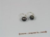spe085 10-10.5mm black freshwater pearls sterling hoop earring