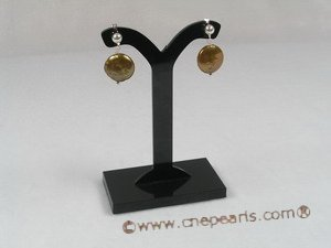 spe086 12mm coffee coin pearl dangling sterling silver studs earring