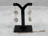 spe102 Sterling Chain & white 12mm coin pearl dangle Earring