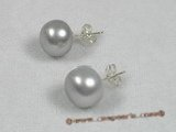 spe120 11-12mm grey breads pearl sterling silver studs earrings