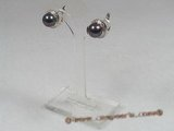 spe121 sterling silver 10-10.5mm black breads pearl clip earrings