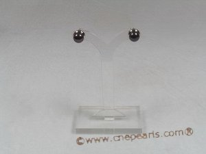 spe123 sterling silver 7-7.5mm black breads pearl studs earrings