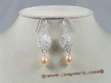 spe128 sterling round dangle earring with pink tear-drop pearl