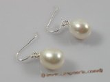 spe138 gorgeous 10-10.5mm white oval pearl sterling dangle earrings