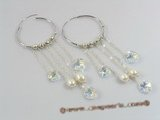spe143 Sterling Silver Crystal &pearl Hoops earrings