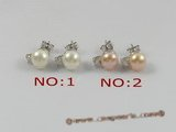 spe144 sterling zircon & bread pearl studs  earrings