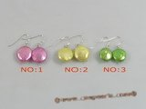 spe150 Eye-Catching 12mm color coin shape Pearl dangle Earrings