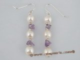 spe156 wholesale sterling white potato pearl &amethyst dangle Earrings