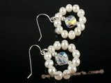 spe159 Pearl Floating Flowers Designer 925silver dangle Earrings on sale