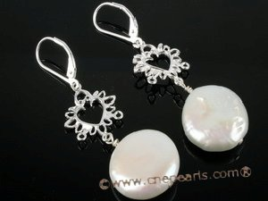 spe160 Stylish Sterling Silver Coin Pearl clip Earrings on sale