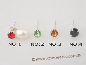 spe162 Silver 925 stud earrings with multicolor zircon and tear-drop pearl