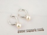 spe163 Round freshwater pearl dangling with 925silver hoop earrings