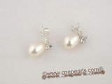 spe164 sterling silver stud earrings with small zircon and oval pearl 6*8mm