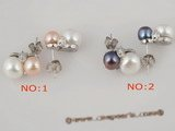spe166 sterling multi-color 8-8.5mm bread pearl studs earrings onsale