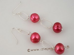 spe168 sterling silve 9.5-10.5mm wine red whorl potato pearl dangle earrings
