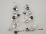 spe174 925silver dangle earring with White,black, and Grey Pearls