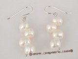 spe175 wholesale sterling white side-drilled pearl dangle Earrings