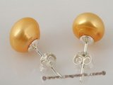 spe189 925silver 9-9.5mm cultured bread pearl stud earrings in yellow