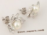 spe201 Designer Style White  seed Pearl Bridal Stud Earrings