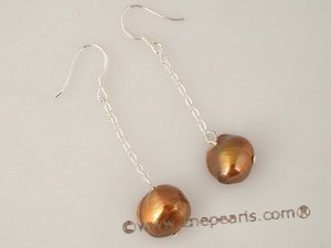 spe205 sterling silver 9-10mm braoque pearl dangle earrings in wholesale price