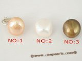 spe210 Sterling silver Clip Earring with 13-14mm baroque pearl in pink color