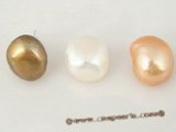 spe211 Sterling silver 13-14mm coffee double shiny cultured baroque pearl stud earring