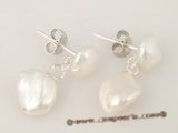 spe212 Sterling silver white keshi pearl dangle stud earring in wholesale
