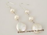 spe214 12-13mm white coin pearl dangle earrings in wholesale
