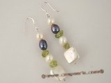 spe215 wholesale square coin pearl &crystal beads dangle Earrings