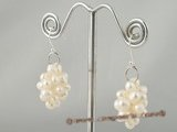spe221 sterling silver white potato pearl dangle earring in grape design