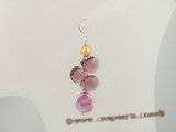 spe233 Pink coin pearl,Gold Pearl and crystal Sterling silver dangle earrings