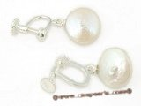 spe240 Sterling silver white coin pearl screwback clip earrings on sale