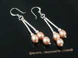 spe246 Triple graduating pink Pearl Dangle Earrings with 925silver hook