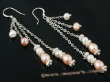 spe247 Sterling silver dangle earring with White and Pink cultured Pearls