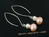 spe248 white and pink potato pearl dangle pierced earrings with large ear hook